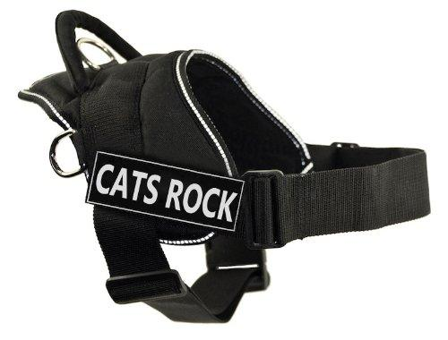 DT Fun Harness, Cats Rock, Black With Reflective Trim, Small - Fits Girth Size: 22-Inch to 27-Inch