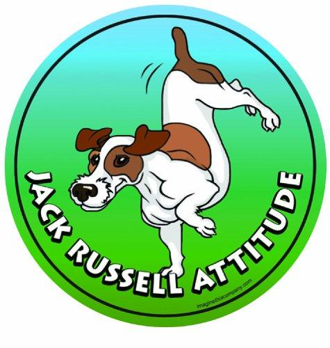 Imagine This 4-3/4-Inch by 4-3/4-Inch Car Magnet Dog Attitude, Jack Russell