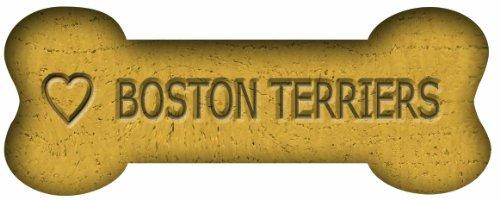 Imagine This 7-Inch by 2-1/4-Inch Car Magnet Biscuit Bones, Love Boston Terriers