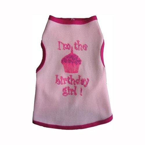 I See Spots Dog Pet Cotton T-Shirt Tank, Birthday Girl, Large, Pink