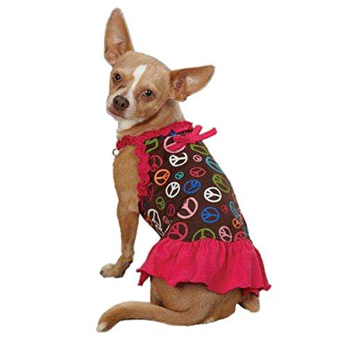 East Side Collection ZM3038 08 81 Peace Out Dress for Dogs, XX-Small, Raspberry