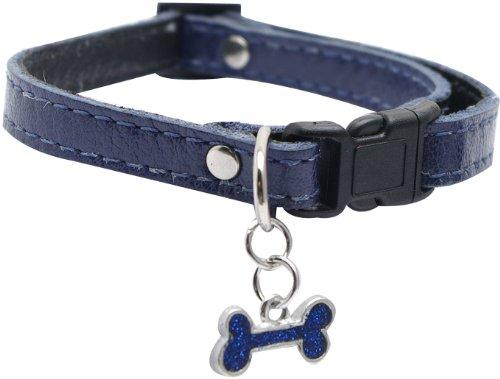 Dogit Leather Style Adjustable Dog Collar with Buckle and Pewter Bone Charm, 9-14-Inch, Blue