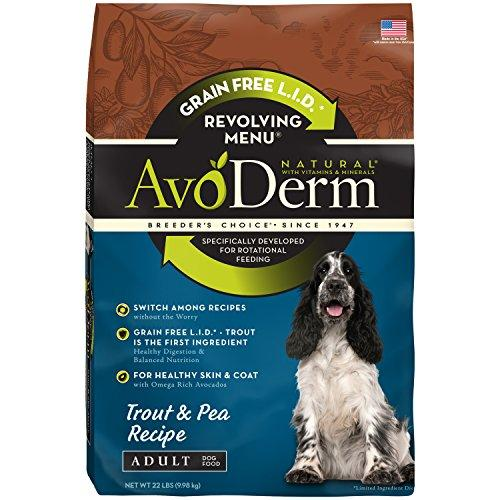AvoDerm Natural Revolving Menu Adult Dog Food, Trout and Pea, 22-Pound