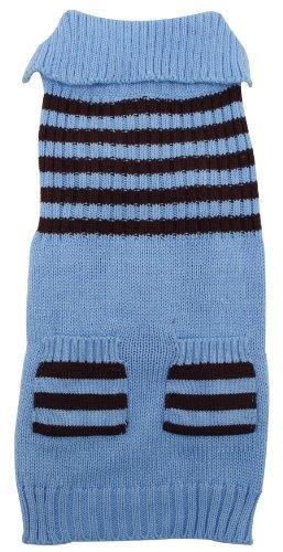 Dogit Striped Dog Sweater, XX-Large, Ice Blue
