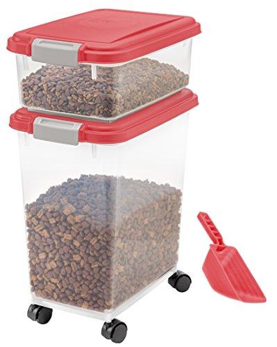 3- Piece Airtight Pet Food Storage Container Combo, Red