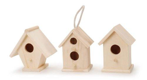 Darice 9184-70 Natural Wood Birdhouse, 4-1/2-Inch (Styles May Vary)