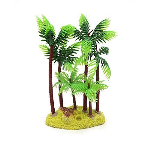Jardin Plastic Palm Tree Plant Underwater Aquarium Ornament, 5.4-Inch, Green/Brown