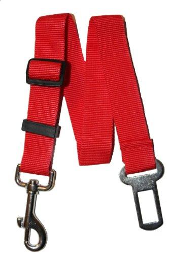 Universal Dog Leash Auto Car Automobile Seatbelt Adapter Extender, adjustable safety seat belt restraint for travel with your pet - RED