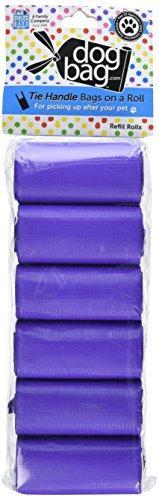 Doggie Walk Bags Tie Handle Bags on a Roll Purple (6 Rolls/72 Bags)