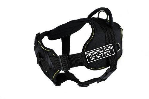 Dean & Tyler D&T FUN-CH WRKDNP YT-S Fun Dog Harness with Padded Chest Piece, Working Dog Do Not Pet, Small, Fits Girth 56cm to 69cm, Black with Yellow Trim