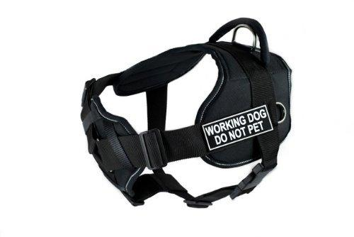 Dean & Tyler D&T FUN-CH WRKDNP RT-L Fun Dog Harness with Padded Chest Piece, Working Dog Do Not Pet, Large, Fits Girth 81cm to 107cm, Black with Reflective Trim