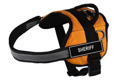 Dean & Tyler Works Sheriff Pet Harness, Small, Fits Girth Size: 25 to 34-Inch, Orange/Black