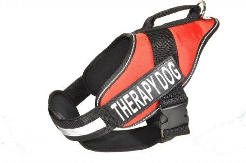 Dogline Alpha Nylon Service Vest Harness with Removable Chestplate and Therapy Dog Velcro Patches, X-Large, Chest Size 36 to 46-Inch, Red