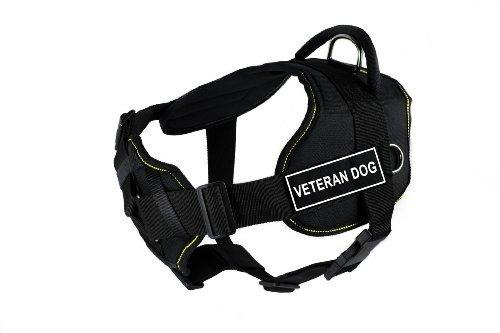 Dean & Tyler Fun Works Veteran Dog Harness with Padded Chest Piece, Large, Fits Girth Size: 32-Inch to 42-Inch, Black with Yellow Trim