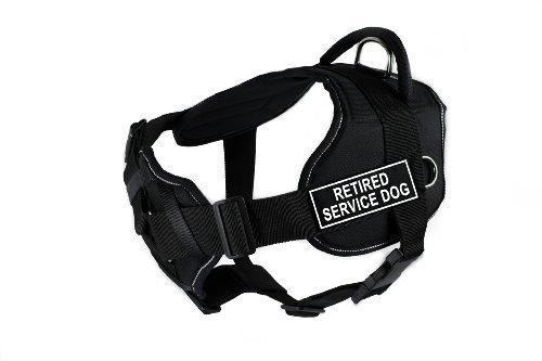 Dean & Tyler Fun Works Retired Service Dog Harness with Padded Chest Piece, Small, Fits Girth Size: 22-Inch to 27-Inch, Black with Reflective Trim