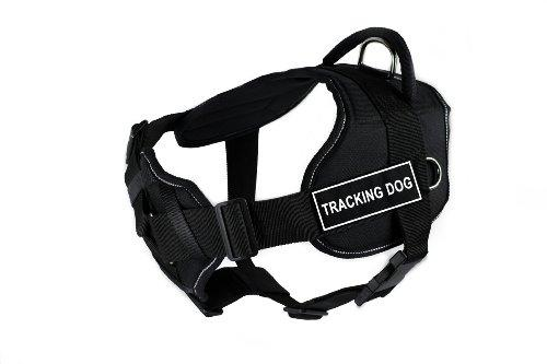 Dean & Tyler Fun Works Tracking Dog Harness with Padded Chest Piece, Small, Fits Girth Size: 22-Inch to 27-Inch, Black with Reflective Trim