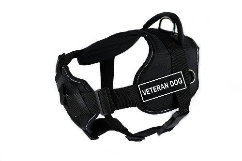 Dean & Tyler Fun Works Veteran Dog Harness with Padded Chest Piece, Medium, Fits Girth Size: 28-Inch to 34-Inch, Black with Reflective Trim