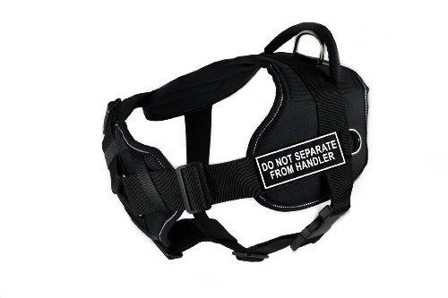 Dean & Tyler Fun Works Do not Separate from Handler Harness with Padded Chest Piece, Large, Fits Girth Size: 32-Inch to 42-Inch, Black with Reflective Trim