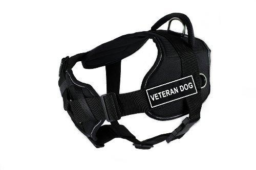 Dean & Tyler Fun Works Veteran Dog Harness with Padded Chest Piece, Large, Fits Girth Size: 32-Inch to 42-Inch, Black with Reflective Trim