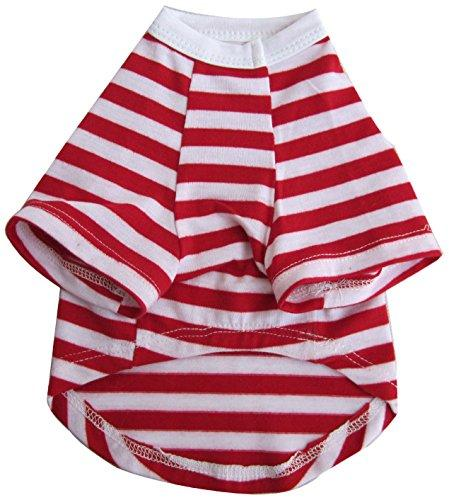 Iconic Pet Pretty Pet Striped Top, X-Small, Red and White