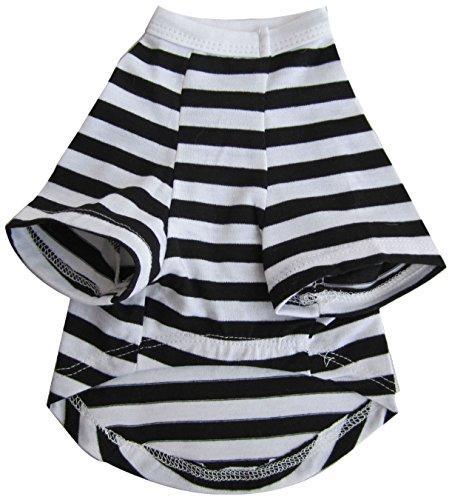Iconic Pet Pretty Pet Striped Top, XX-Small, Black and White