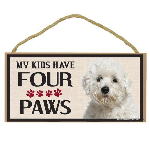 Imagine This Wood Breed Four Paws Sign, Maltese