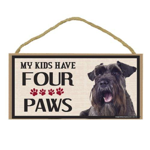 Imagine This Wood Breed Four Paws Sign, Schnauzer