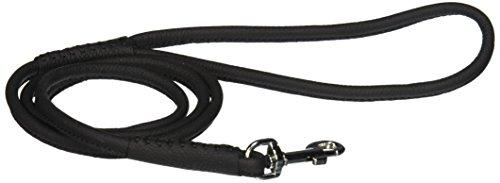 Dogline 1/4-Inch Wide Soft Padded Rolled Round Leather Dog Leash Lead, 4-Feet, Black