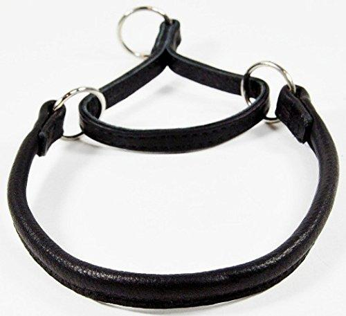 Dogline 1/2-Inch Wide Soft Rolled Genuine Leather Martingale Collar, 22-Inch, Black