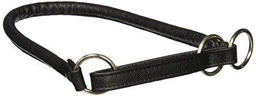 Dogline 1/2-Inch Wide Soft Rolled Genuine Leather Martingale Collar, 28-Inch, Black