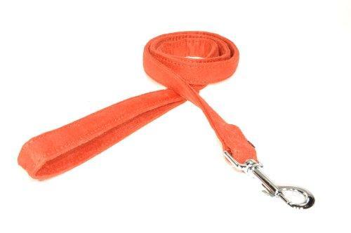 Dogline 4-Feet Soft Padded Durable Microfiber Dog Leash, 5/8-Inch, Orange