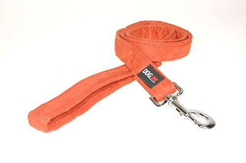 Dogline 4-Feet Soft Padded Durable Microfiber Dog Leash, 1-Inch, Orange