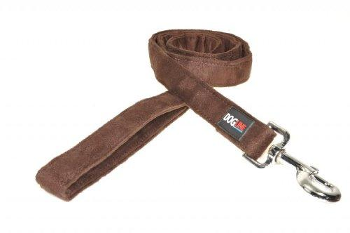 Dogline 4-Feet Soft Padded Durable Microfiber Dog Leash, 1-Inch, Brown