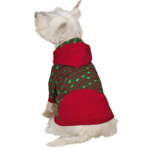 East Side Collection Holiday Houndstooth Pet Pullover, X-Small, Red