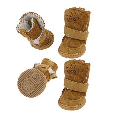 Water & Wood Brown Nonslip Rubber Sole Yorkie Dog Winter Shoes Boots 2 Pair XS
