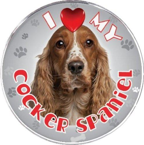 iLeesh I Love My Cocker Spaniel Reflective Decal, Brown