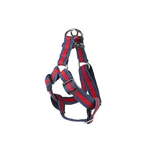 POOCHEE DESIGNS Dog Harness, Large, Red Stripe on Navy Blue
