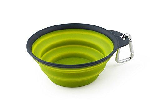 Dexas Popware for Pets Collapsible Travel Cup, Small, Gray/Green