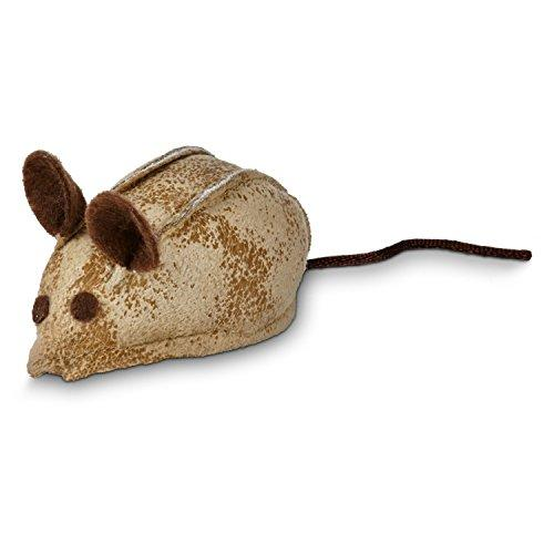 Leaps & Bounds Faux Leather Mouse Cat Toy with Rattle & Catnip , 3