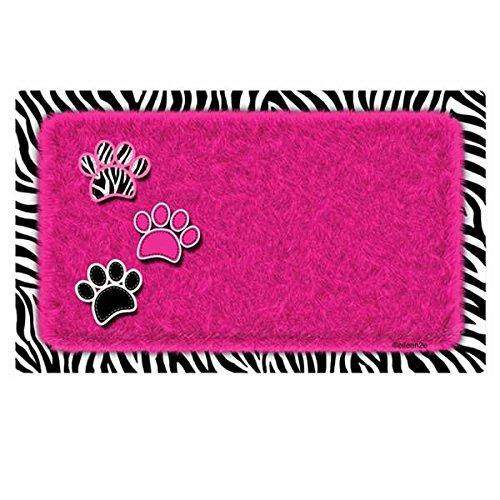 Drymate Pet Bowl Place Mat in Furtitude, 12 by 20-Inch, Zebra, Pink