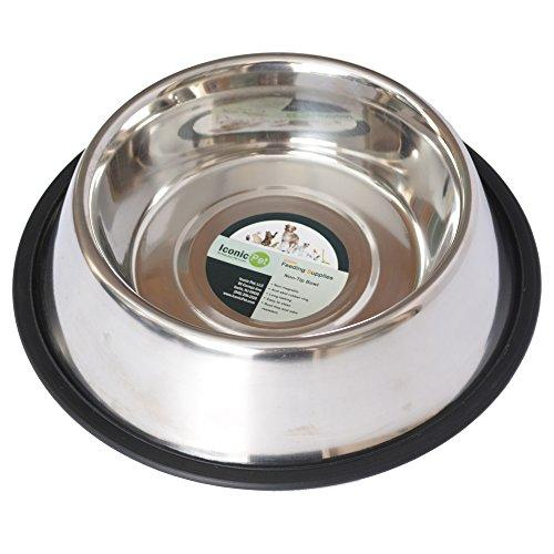 Iconic Pet 8-Cup Stainless Steel Non-Skid Pet Bowl for Dog or Cat, 64-Ounce