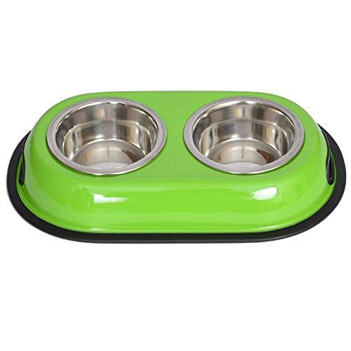 Iconic Pet 2-Cup Color Splash Stainless Steel Double Diner for Dog/Cat, 16-Ounce, Green