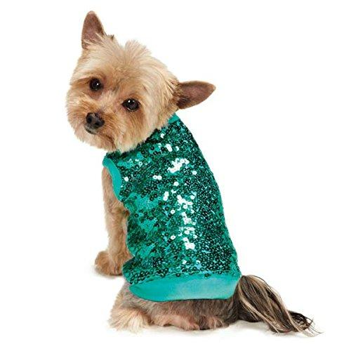 East Side Collection Sassy Dog Sequined Tank, Medium, Blue
