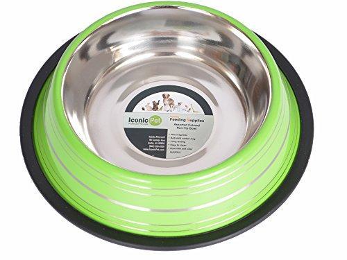 Iconic Pet Color Splash Stripe Non-Skid Pet Bowl, 8-Ounce, Green