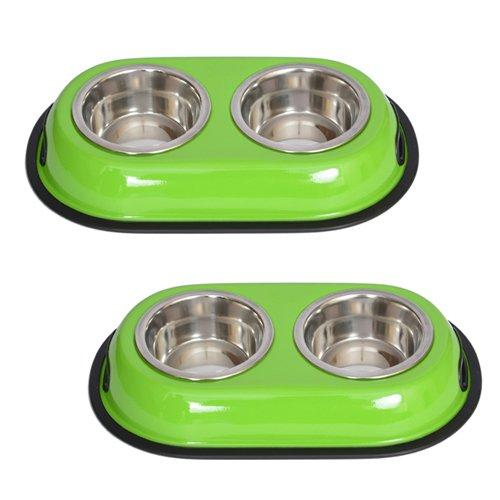 Iconic Pet 2 Cup Color Splash Stainless Steel Double Diner for Dog/Cat (2 Pack), Green, 16 oz