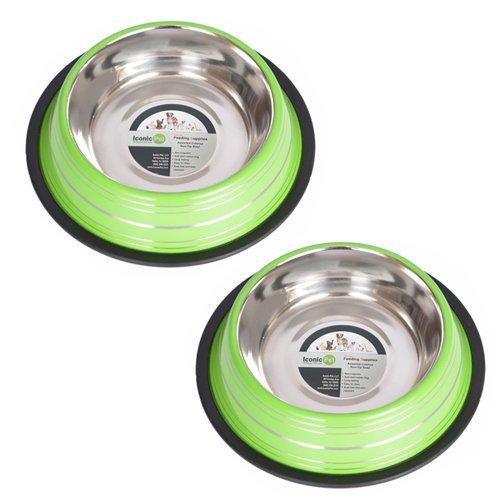 Iconic Pet 2 Cup Color Splash Striped Non-Skid Pet Bowl for Dog or Cat (2 Pack), Green, 16 oz