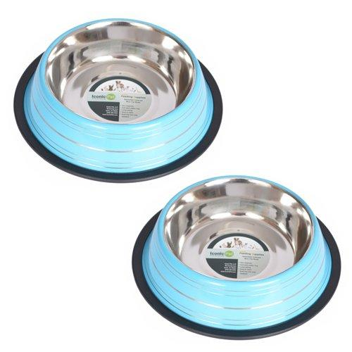 Iconic Pet 4 Cup Color Splash Striped Non-Skid Pet Bowl for Dog or Cat (2 Pack), Blue, 32 oz