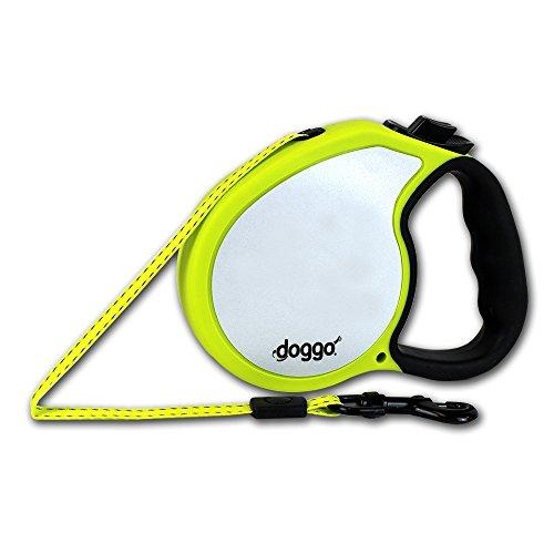 Doggo Reflective Retractable Dog Leash with Soft Grip Handle, 13/Small, Neon Yellow/Black