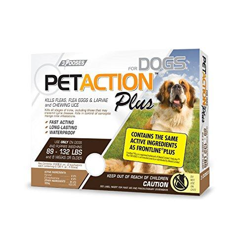 PetAction Plus Flea & Tick Treatment for XL Dogs, 89-132 lbs, 3 Month Supply