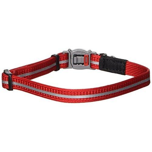 Rogz Reflective Nylon Cat Collar with Breakaway Clip and Removable Bell, fully adjustable to fit most breeds, Red